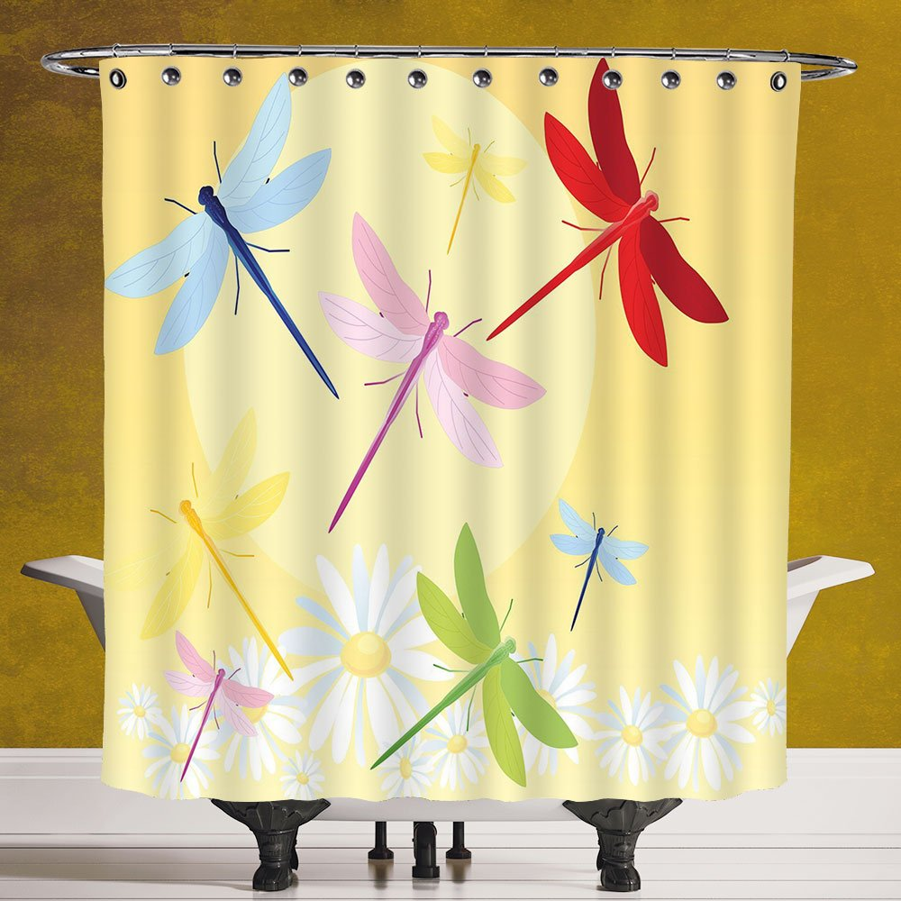Waterproof Shower Curtain 3.0 [Dragonfly,Flower Field in Spring Season with Chamomiles and Sun Figure on the Back Graphic Decorative,Multicolor] Digital Print Polyester Fabric Bathroom Set