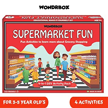 WONDRBOX Baby Boy\'s and Girl\'s Super Market Activity Box (4-in-1 Set)  Learning and Educational Gift Pack of Play-based Explorer Toys, Puzzle,  Poster ...