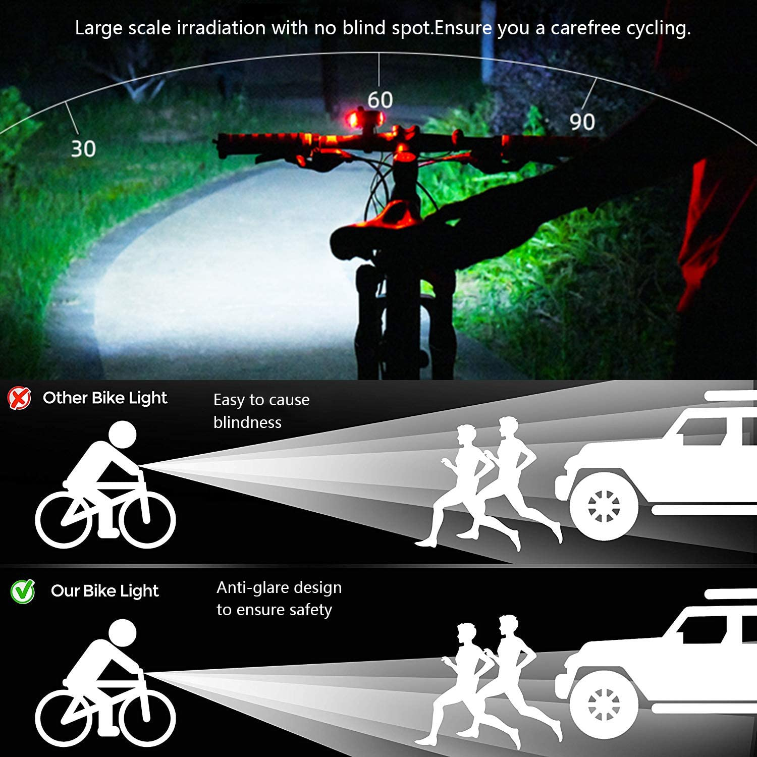 Details about  /60000LM Ultra-Bright LED Cycling Bicycle Front Head Light Bike Lamp Battery Pack