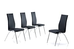 Modern Line Furniture F73Bx4 Contemporary Chair for Restaurant/Bar/Nightclub/Hospitality Furniture, Black (Pack of 4)