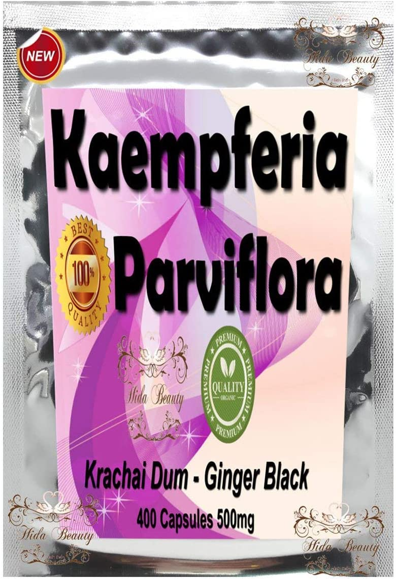 Premium 400 Capsules 500mg Kaempferia Parviflora Grachai Dum Black Ginger Galingale Extract Powder Grown in Thailand