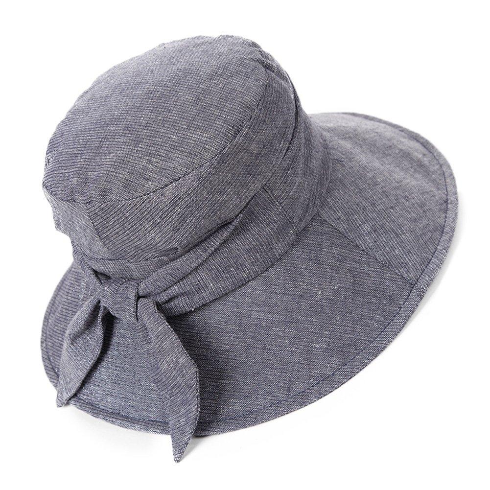f124c0693ea32 SIGGI Bucket Boonie Cord Fishing Cap Summer Sun Hat Linen Bowknot Wide Brim  for Women Grey  Amazon.ca  Clothing   Accessories