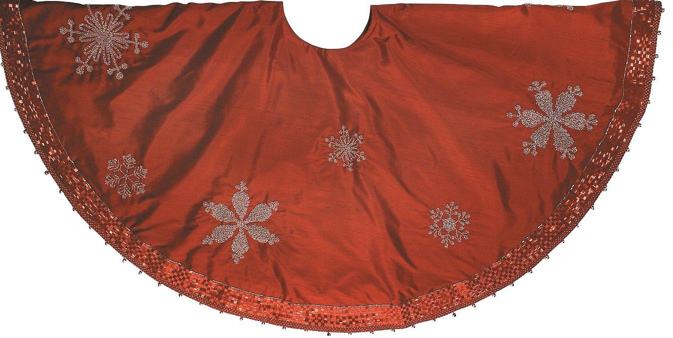 Arcadia Home Silk Christmas Tree Skirt with Beaded Snowflakes