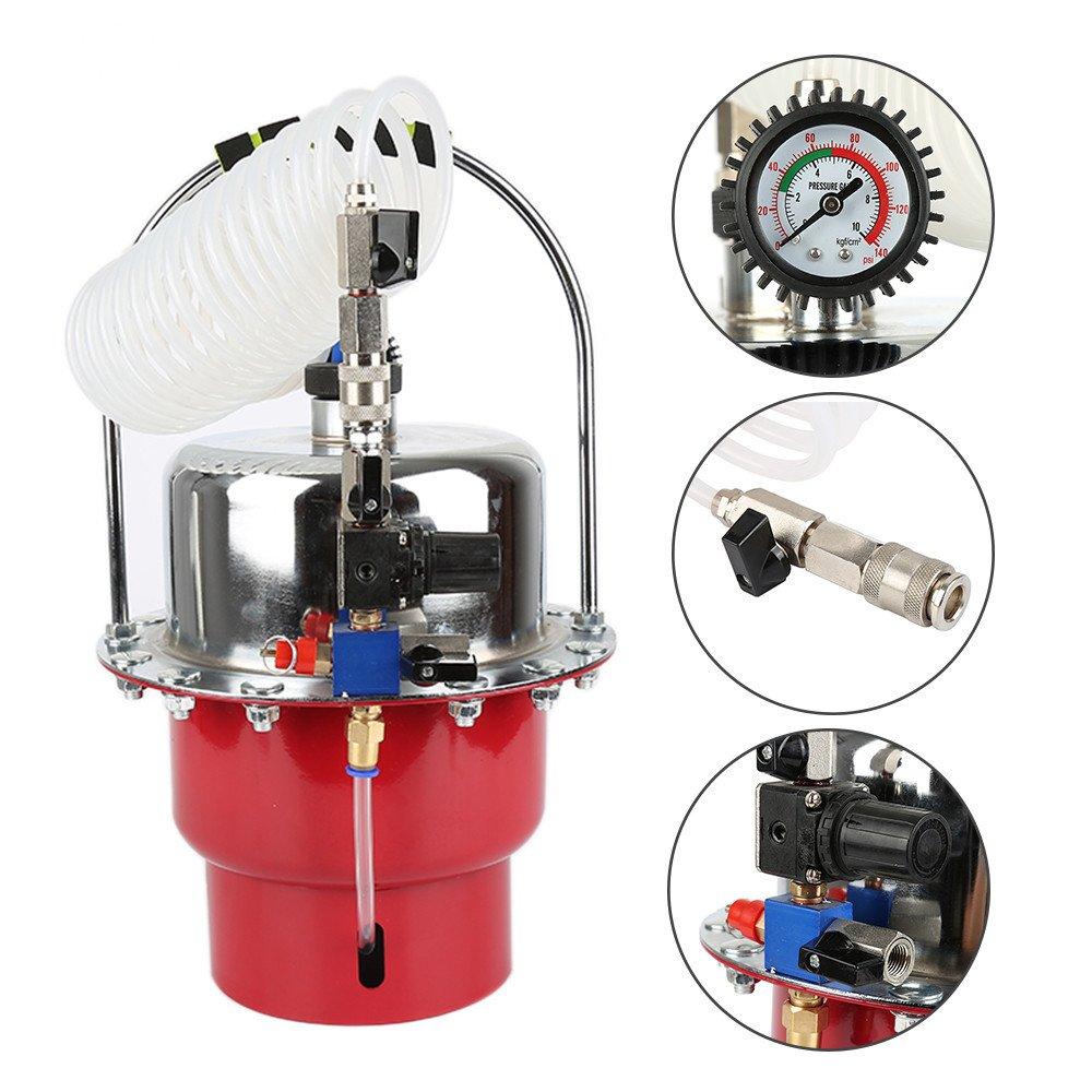 Rouge /à Air Comprim/é 0-140PSI 5L Flyelf Purgeur de Frein,Pneumatique Air Pressure Bleeder Kit Automotive Brake Bleeder Outil Adaptateur Set