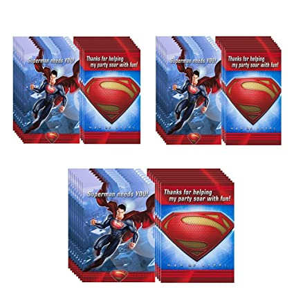 Amazon.com: Man of Steel Superman invitaciones a fiesta & de ...