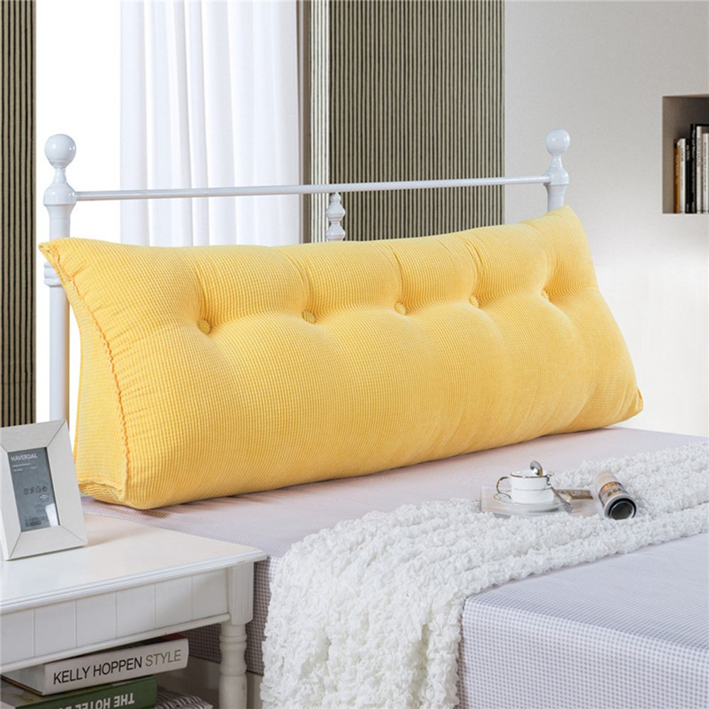 Filled Triangular Wedge Pillow Support Reading Backrest Cushion Upholstered Soft Headboard Home Lumbar Pad Removable Washable Cover Twin Queen California King Bed Sofa Daybed
