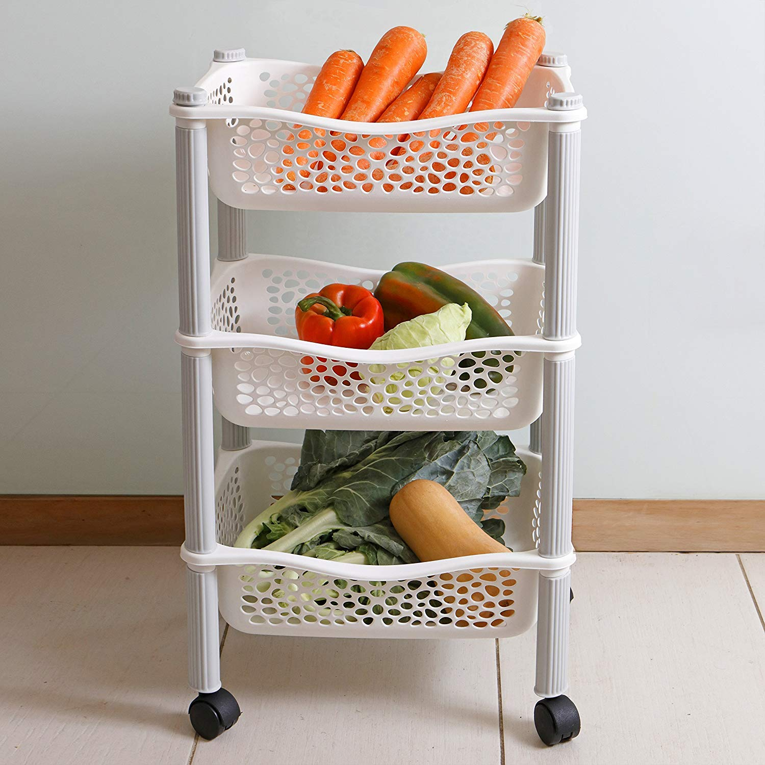 Kitchen Storage Trolley cart with Storage Baskets and Wheels Fruit Vegetable Rack Heavy Duty Plastic White