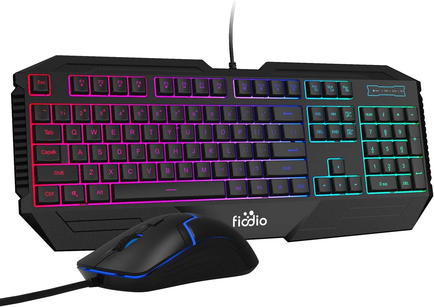 Teclado F-1100 y mouse gamer 1600 DPI FIODIO 104 teclas