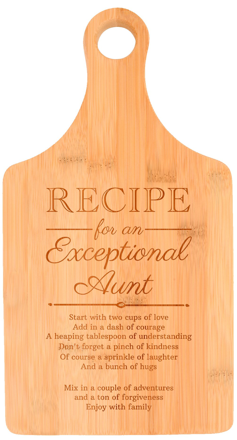 Birthday for Aunt Recipe for an Exceptional Aunt Perfect Gift for Aunt Baby Gifts for Aunt Gifts from Daughter Paddle Shaped Bamboo Cutting Board