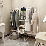 Portant à vêtements en métal avec 4 étagères, 6 étagères et 2 barres supérieures pour suspendre les vêtements, porte-manteaux