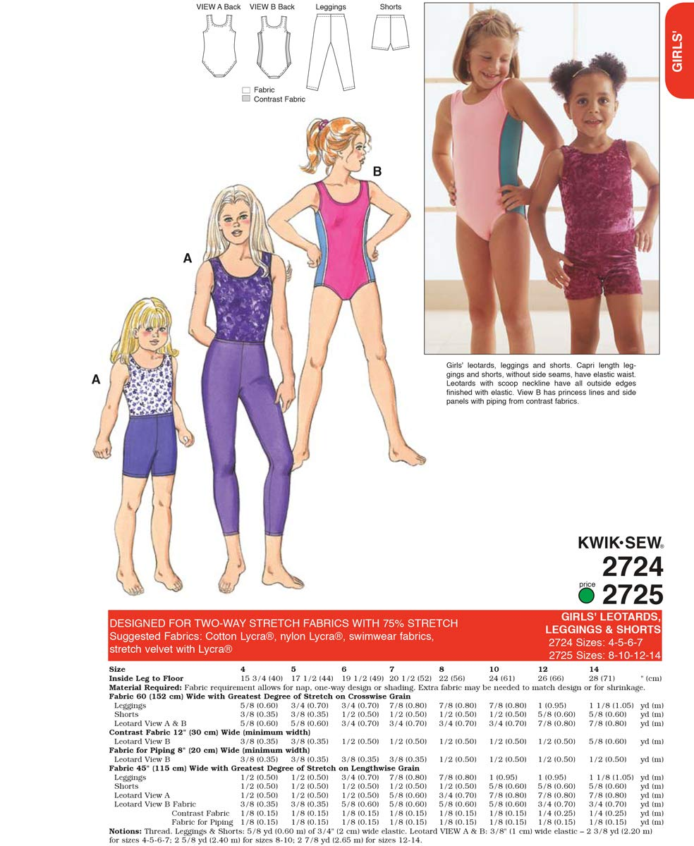 KWIK-SEW PATTERNS Kwik Sew K2724 patrones de costura para niña ...