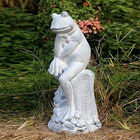 Licyen Novedad Jardín Escultura Estatuas Yoga Retro Escultura de la Rana decoración del jardín de Villa Jardín Paisaje Animales Otros artículos de Ornamento (Color : Blanco, tamaño : 29x30x76cm): Amazon.es: Hogar