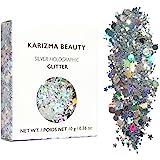 KARIZMA Holographic Silver Body Glitter. 10g Chunky Face Glitter, Hair Glitter, Eye Glitter and Body Glitter for Women. Rave