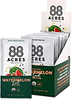 product image for 88 Acres Organic Seed Butter | Keto-Friendly, Vegan, Gluten Free, Dairy Free, Nut-Free Non GMO Seed Butter Spread | 20 Single Serve Squeeze Packs, 1.16 oz (Watermelon Seed)