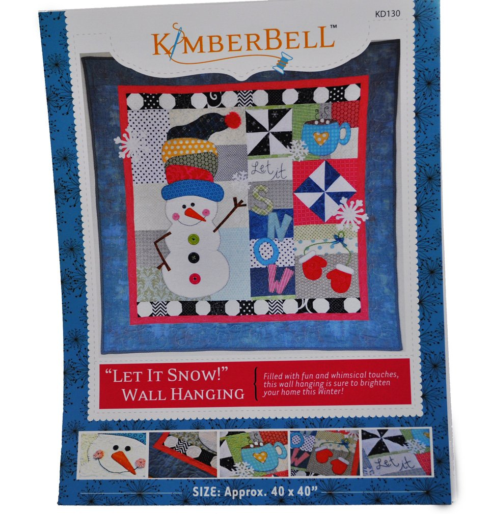 """Let It Snow!"" Wall Hanging Quilt Pattern by Kimberbell 40"" x 40"" Snowman & Snowflakes"