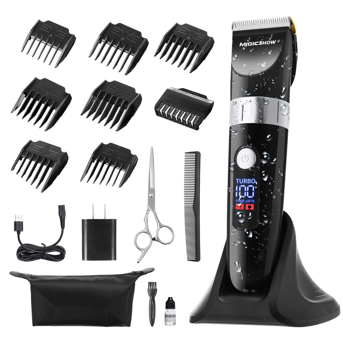 Hair Clippers for Men, Cordless Waterproof Beard Trimmer Hair Trimmer Grooming Kit