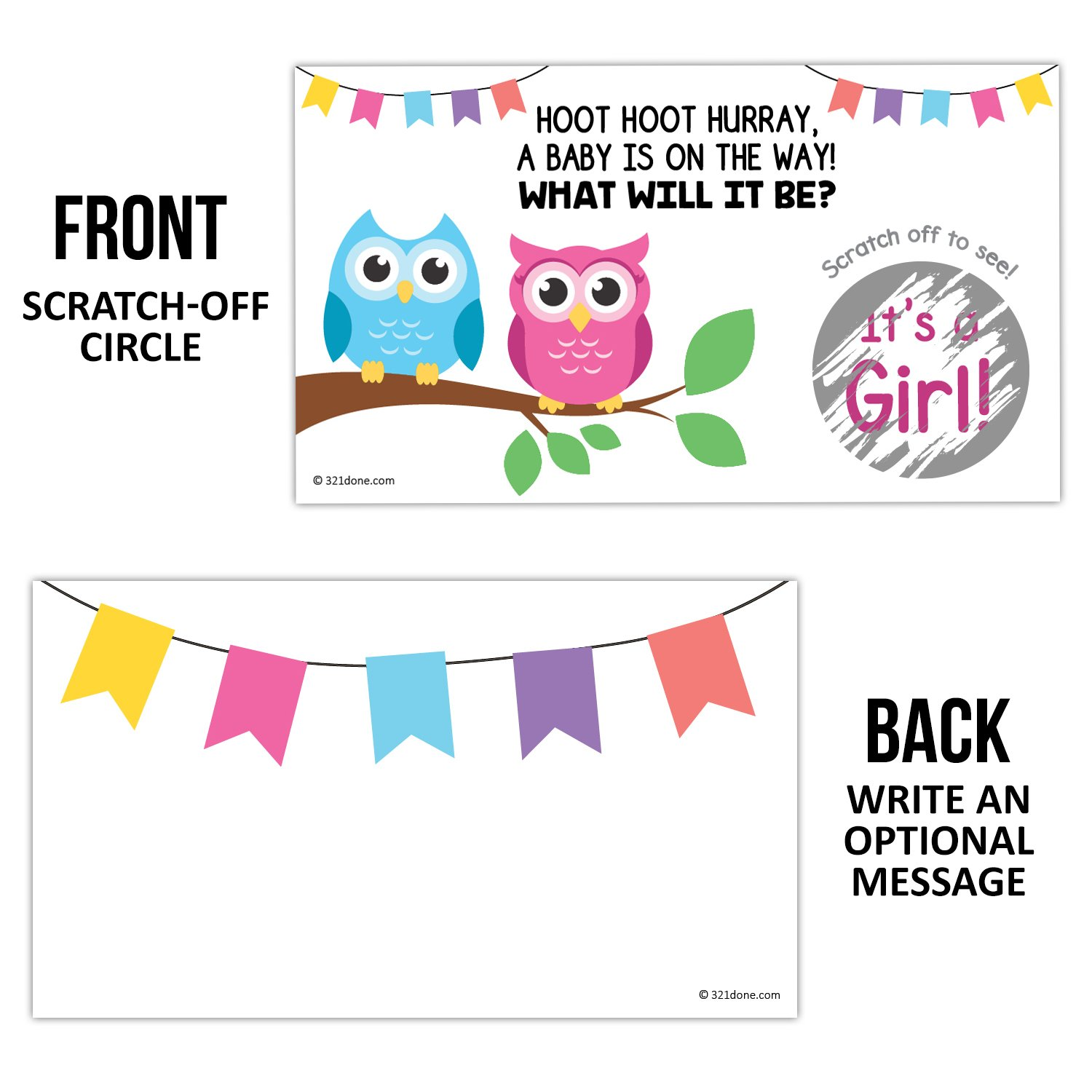 3.5 x 2 Boy or Girl Owls on Tree Branch Its a Boy Set of 25 Made in the USA Owl 321Done Gender Reveal Scratch Off Cards for Baby Announcement