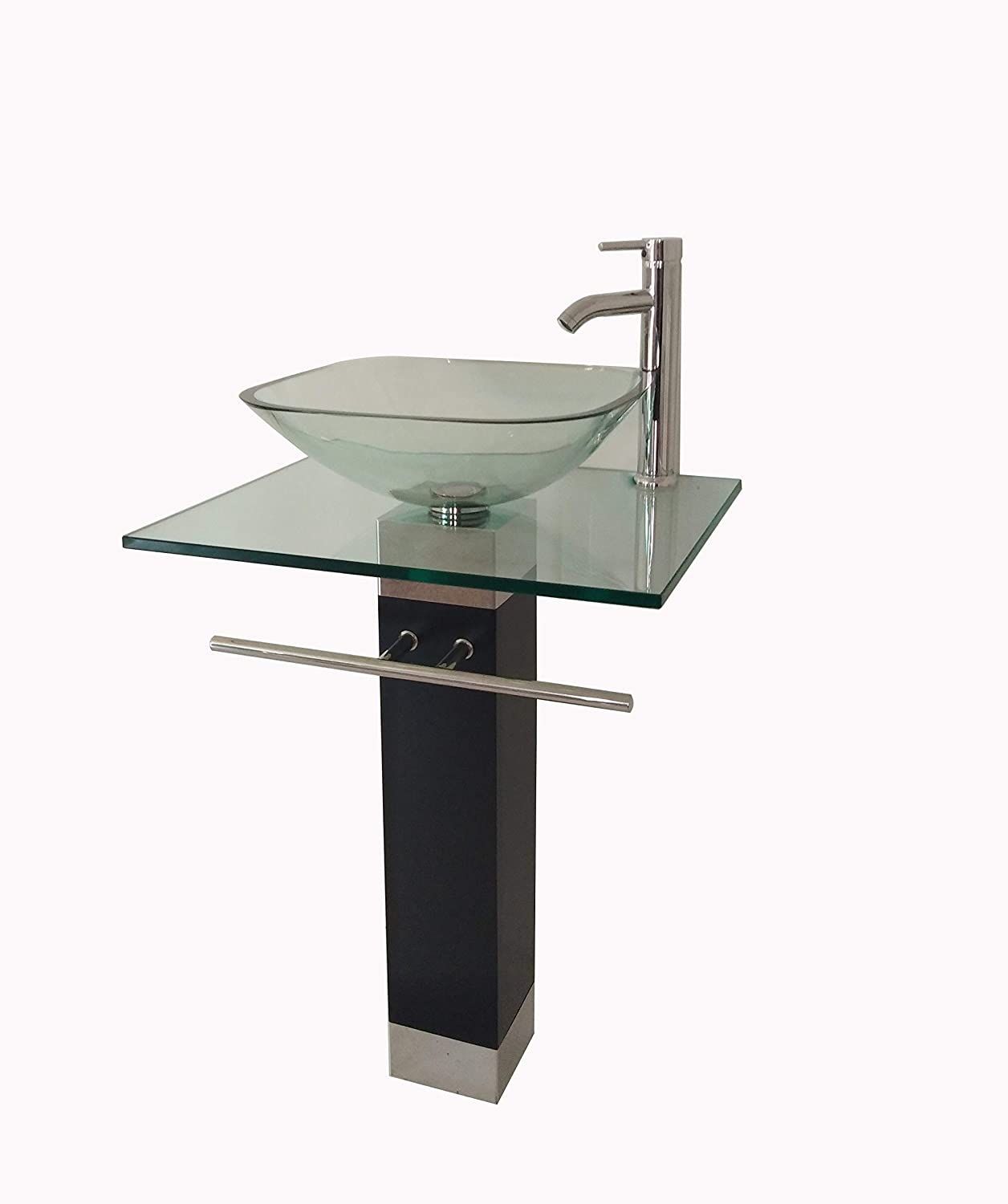 24 Bathroom Pedestal Vanity Glass Vessel Sink Set with Chrome Faucet Drain included BLACK