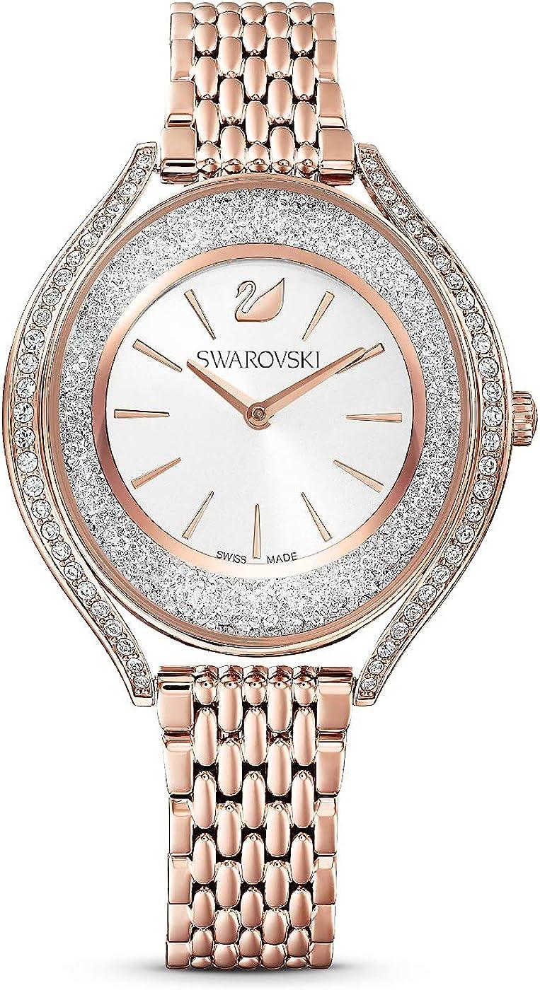 Swarovski 5519459 Crystalline Aura - Reloj de pulsera para mujer, correa de metal, color rosa, chapado en oro rosa