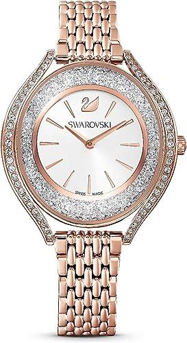 Swarovski - 5519459 - Montre Femme - Cristal Aura - Bracelet Métal - Rose -  Finition PVD Doré