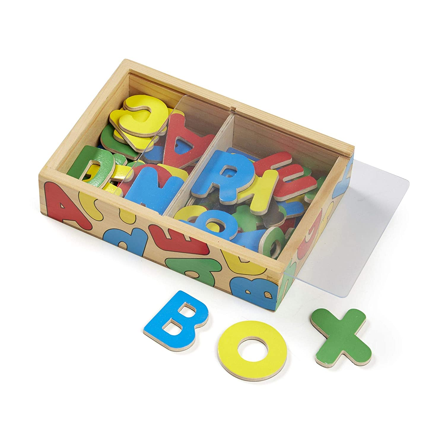 Melissa & Doug 52 Wooden Alphabet Magnets in a Box, Developmental Toys, Sturdy Wooden Construction, 52 Pieces, 7.8″ H × 5.45″ W × 1.85″ L