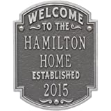 Personalized Welcome to Our House Custom Indoor/Outdoor Aluminum Wall Plaque - Pewter/Silver