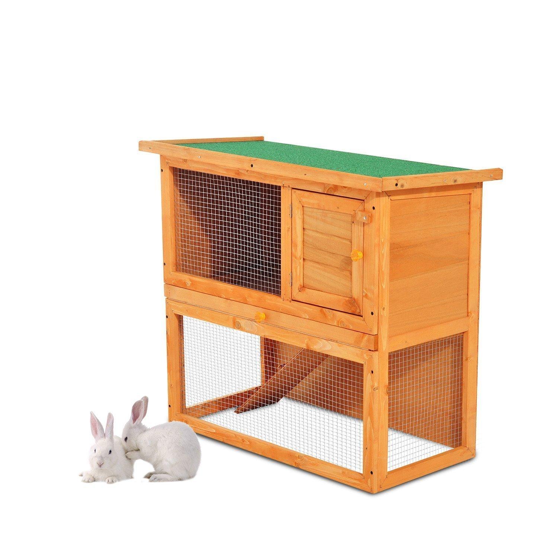PawHut Conejera Madera Jaula para Conejos o Casa para Animales Pequeños 90x45x80cm Área de Juego: Amazon.es: Jardín