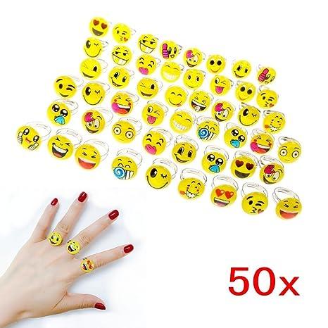 1b7e29446c5e50 JZK 50 bagues emoji ajustables pour enfants, anneaux de jouets pour faveurs  d anniversaire