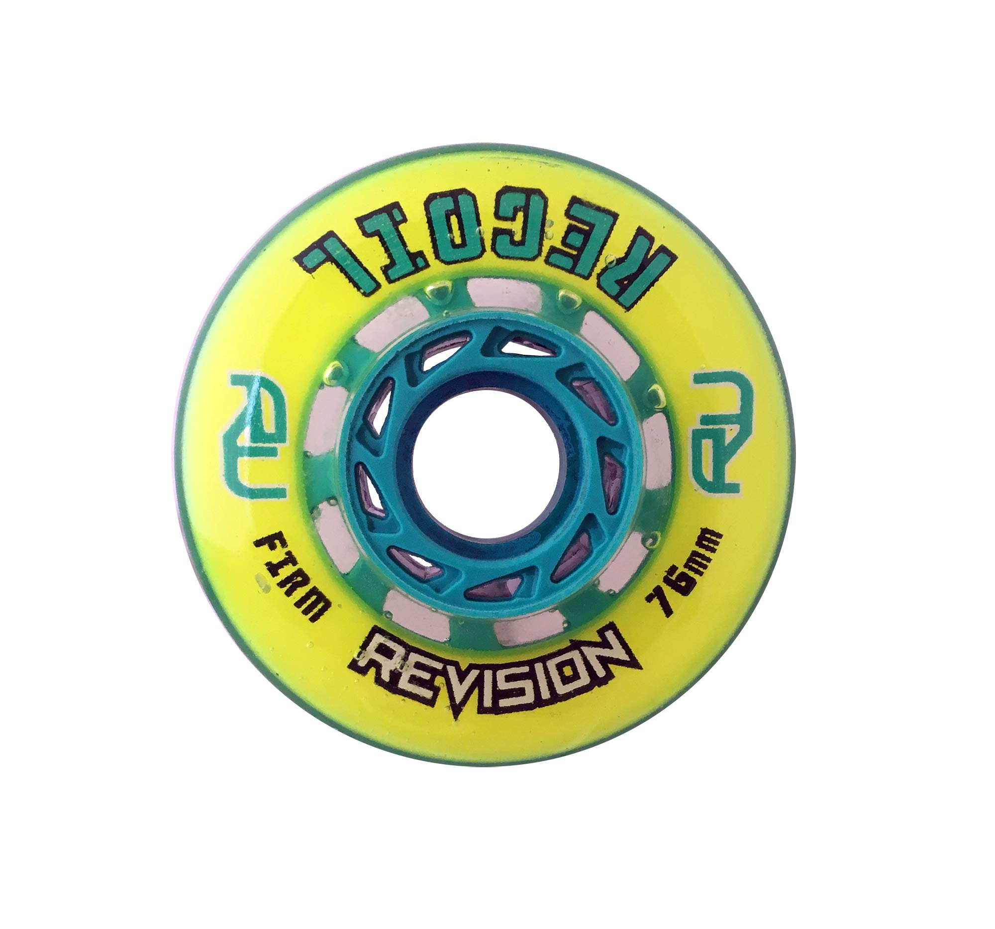 Revision Recoil Indoor Inline Roller Hockey Wheel - 74A - 76 Firm - Yellow & Teal by Revision Hockey