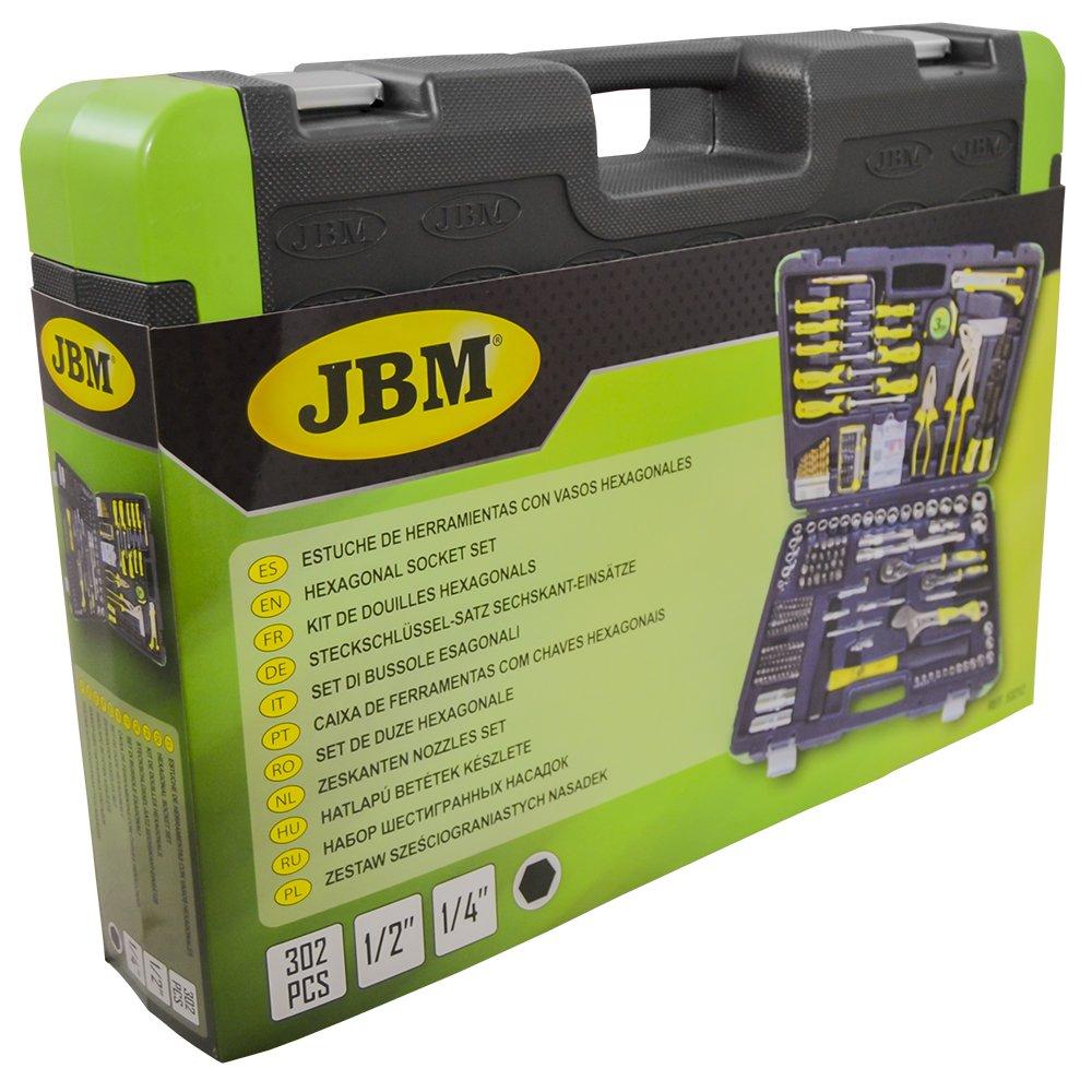 JBM 53212 Estuche de herramientas 303 piezas/con vasos hexagonales, 0 V, Set