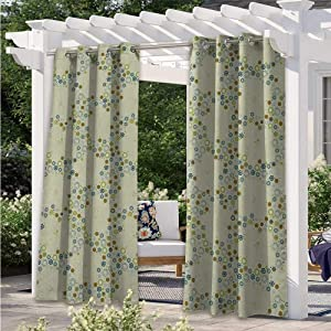 Outdoor Blackout Curtains Ornament of Medallion Shapes Bordered with Small Wildflowers Pattern Print Indoor Outdoor Deck Curtain for Cabana Corridor Garden Sun Room Khaki Blue Green W84 x L84 Inch