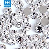 Onwon 144 Pieces SS40 / 8mm Clear Crystal Flat Back Brilliant Round Rhinestones Glass Stones Glitter Gems Transparent Faux Di