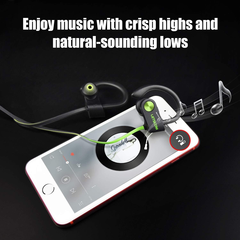 LETSCOM Bluetooth Headphones V5.0 IPX7 Waterproof, Wireless Sport Earphones