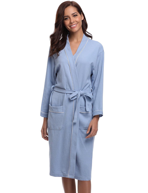 e87b2da180 Aibrou Bathrobes for Women Waffle Weave Spa Robe Womens Kimono Lightweight  Cotton Robe at Amazon Women s Clothing store
