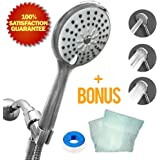 Natural Rapids High-Pressure Handheld Shower-head - For Best Use, Hand Held Showerhead Comes With Stainless Steel Hose, Adjustable Holder, Teflon Tape, & Exfoliating Washcloth - Chrome