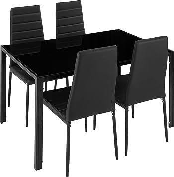 Oferta amazon: TecTake Conjunto de Mesa y 4 sillas de Comedor | Alto Grado de Confort | Tablero de la Mesa Robusto, de Vidrio Templado de Seguridad (Negro | No. 402837)