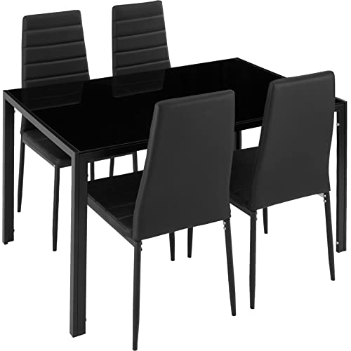 Table Cuisine En Verre Noir Amazon Fr