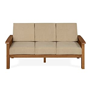 @home by Nilkamal Roosey Three Seater Sofa (Walnut)