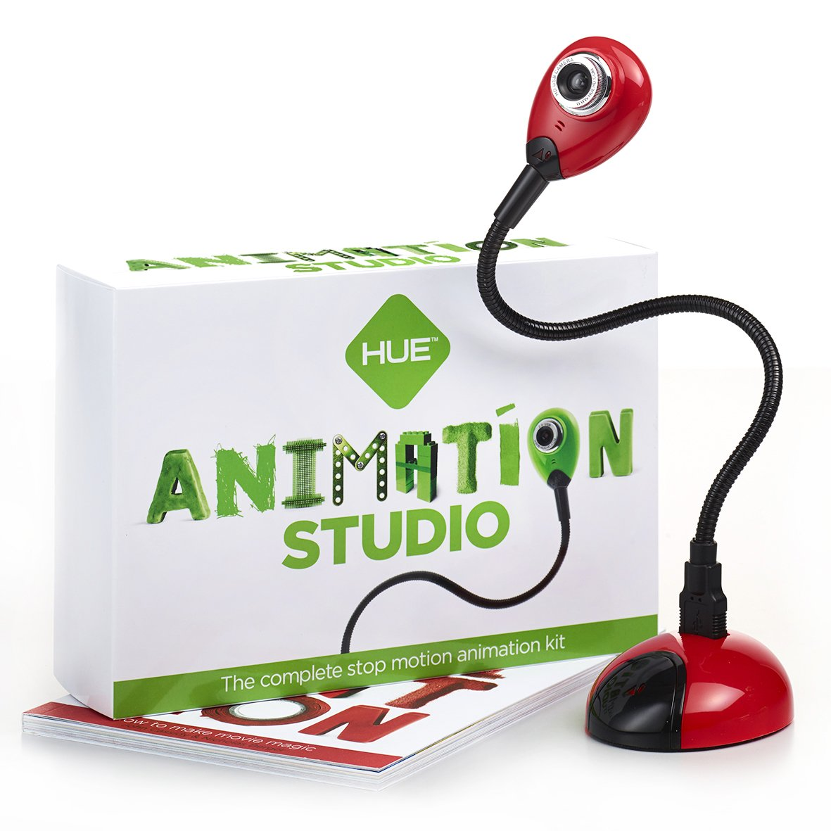 HUE Animation Studio (Red) for Windows PCs and Apple Mac OS X: complete stop motion animation kit with camera, software and book by HUE HD