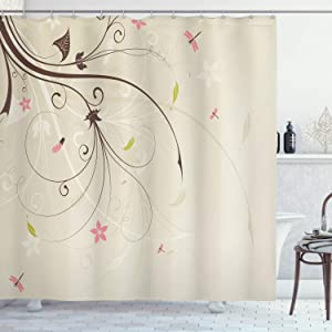 Ambesonne Dragonfly Shower Curtain, Spring Field Bouquet Shabby Form Abstract Blossom Greenland Graphic Art, Cloth Fabric Bathroom Decor Set with Hooks, 75