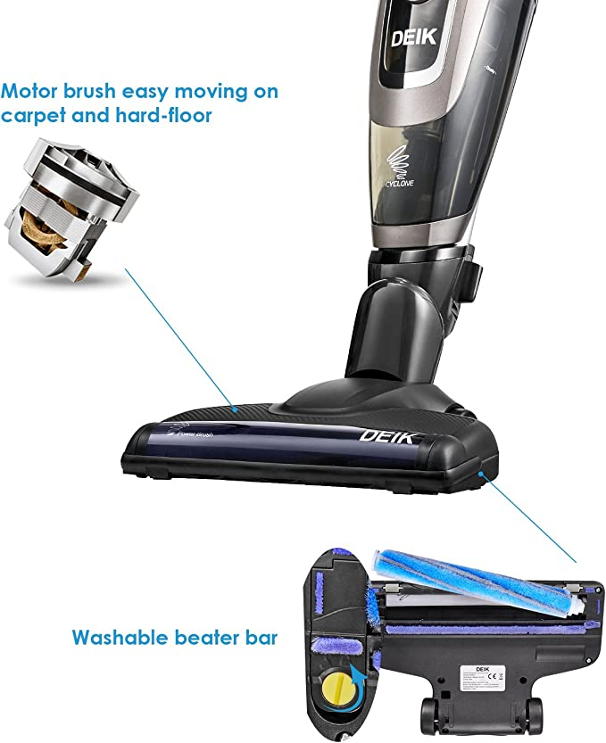 Deik aspirador sin cable, 3 en 1 de aspirador escoba, aspirador vertical sin bolsa, 21,6 V batería de litio, cepillo eléctrico con accesorios, negro: Amazon.es: Hogar