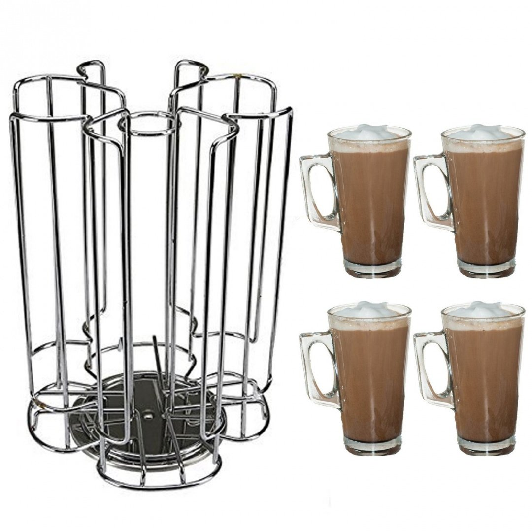 First4Spares Rotating Coffee Pod T-Disc Holder for Bosch Tassimo Machines, 52 Pod Capacity - Includes 4 Glasses With Handles QUACMP003.V01