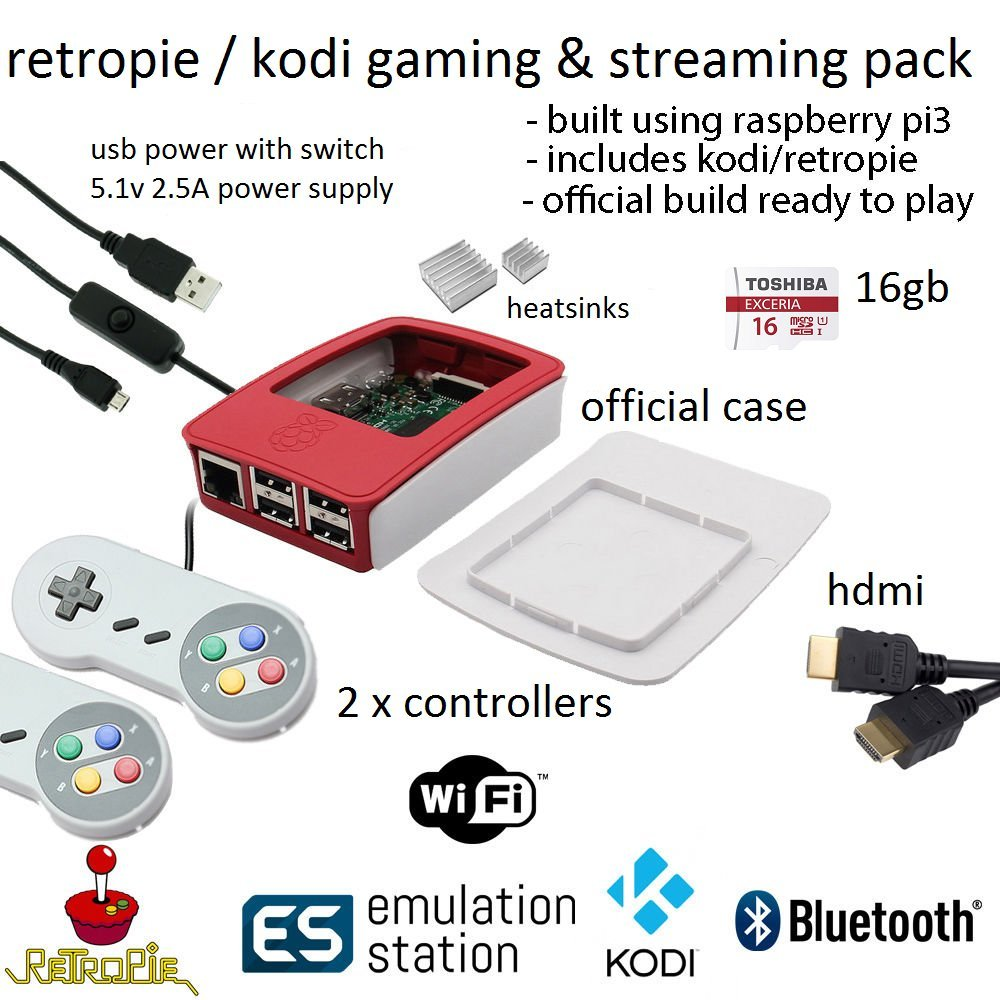 Raspberry Pi 3 - Retropie Starter Pack Bonus Kodi 16GB MicroSD With SNES  Compatible Controllers 5v 2 5a official power supply and switch cable +  Bonus
