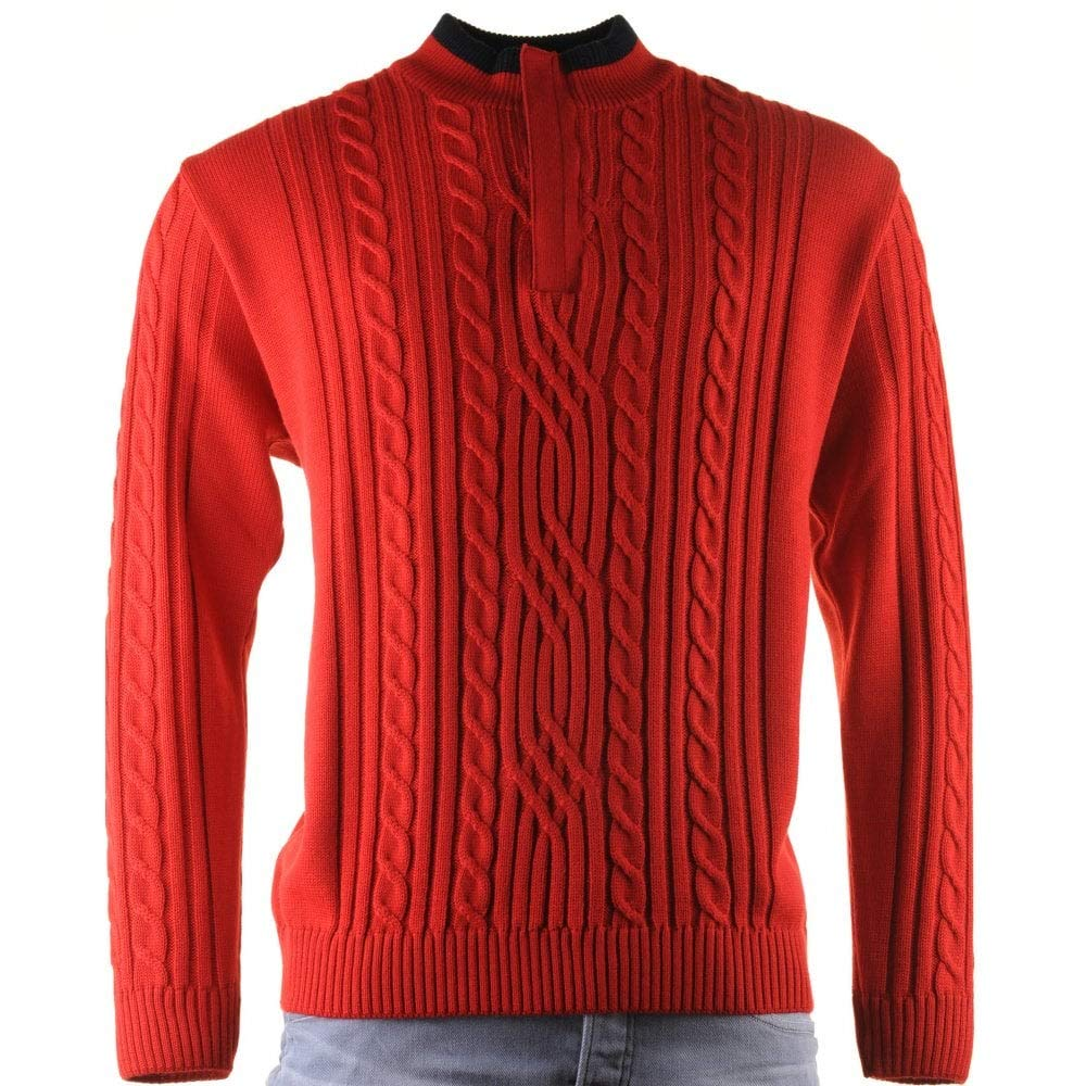 Red L Green Coast 1 4 Zip Red Cable Stitch Knitwear