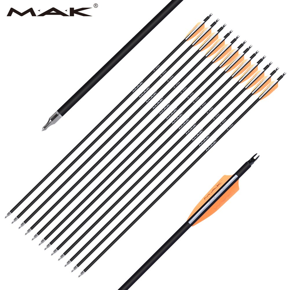 M.A.K [Hunting Arrows] 30-Inch 0.309 inch Outer Diameter Carbon Outdoor Archery Practice Target Arrows with Replaceable Hunting Broadhead for Compound & Recuve Bow