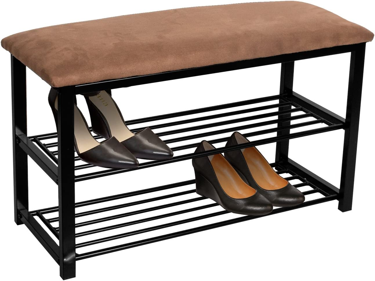 Sorbus Shoe Rack Bench Shoes Racks Organizer Perfect Bench Seat Storage for Hallway Entryway, Mudroom, Closet, Bedroom, etc Brown