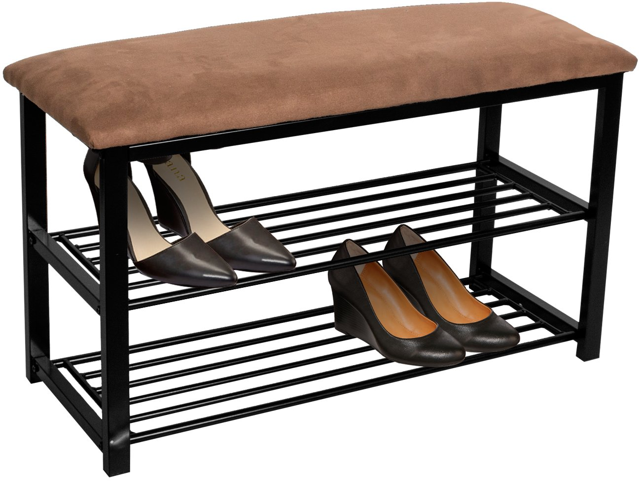 Sorbus Shoe Rack Bench - Shoes Racks Organizer - Perfect Bench Seat Storage Hallway Entryway, Mudroom, Closet, Bedroom, etc (Brown) SH-BNCHA
