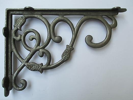 """Set of 2 Cast Iron Shelf Brackets New Antique-Style Tubular Rustic 7/"""" x 7/"""""""