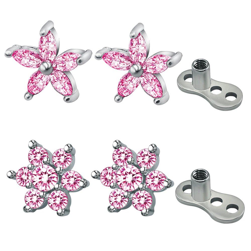 2Pairs Flower Dermal Top Surgical SteelInternally Thread Base Dermal Anchor Skin Piercing Jewelry PiercingCool