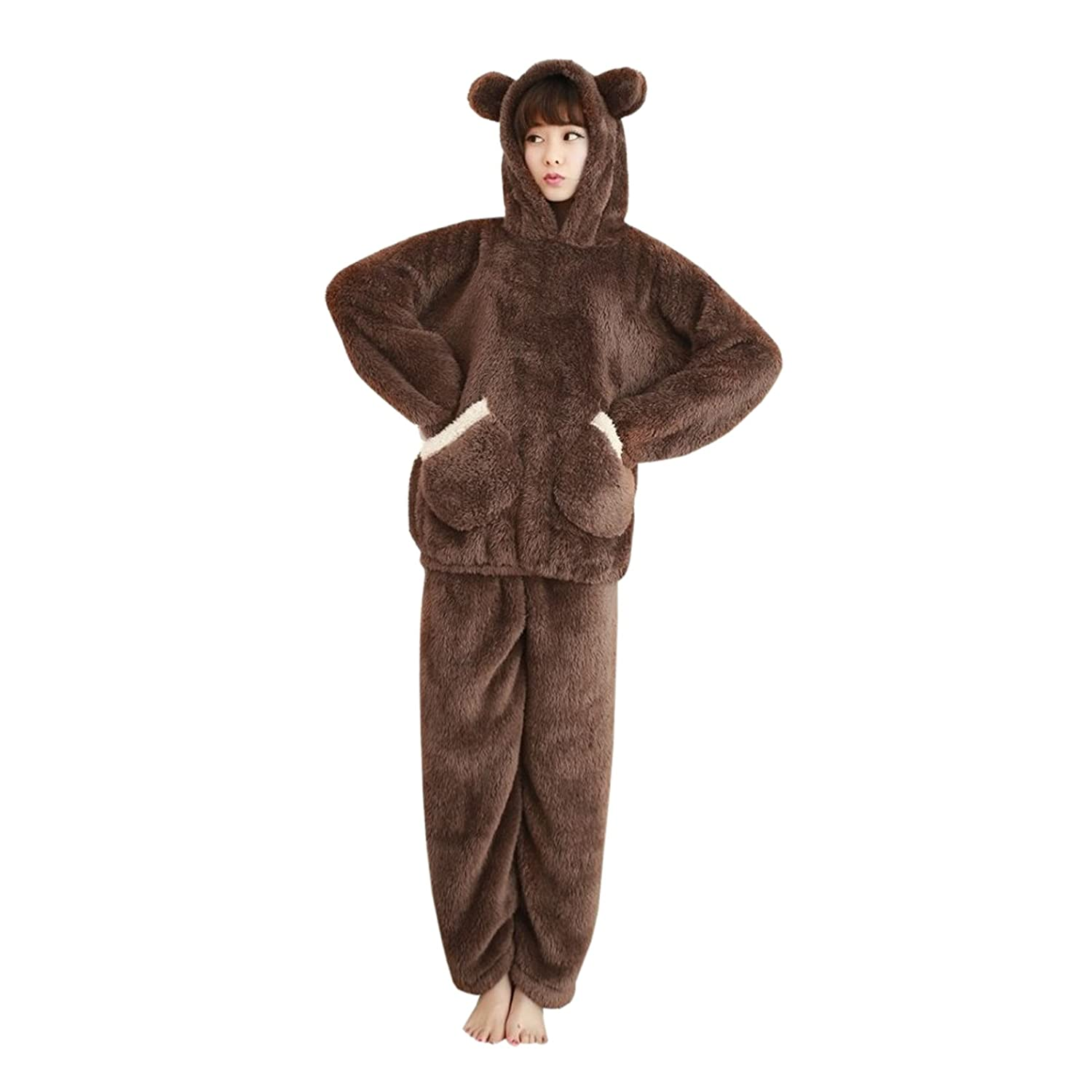 WSLCN Pyjamas Set Unisex Animal Fleece Hooded Cosplay Costume Bear Women Cute Winter Nightwear Flannel Cosplay Warm Kigurumi Costume Halloween Party Christmas Marron X-Large SY0451-BXL